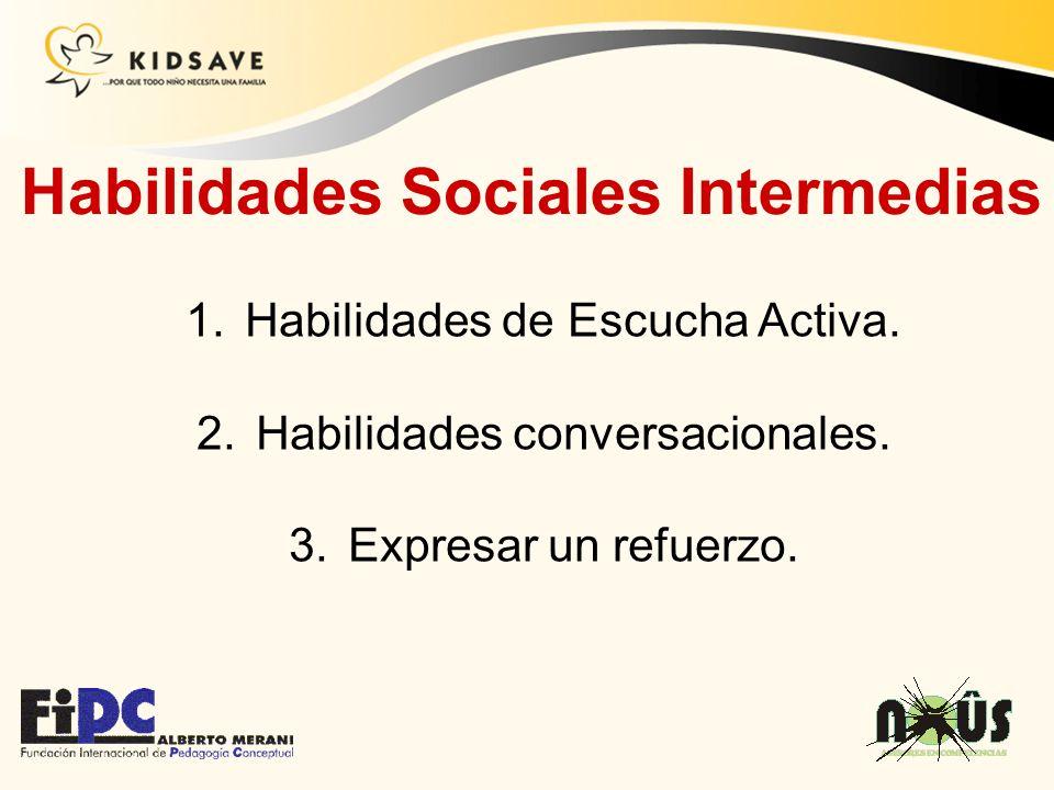 1.Habilidades de Escucha Activa. 2.Habilidades conversacionales. 3.Expresar un refuerzo. Habilidades Sociales Intermedias