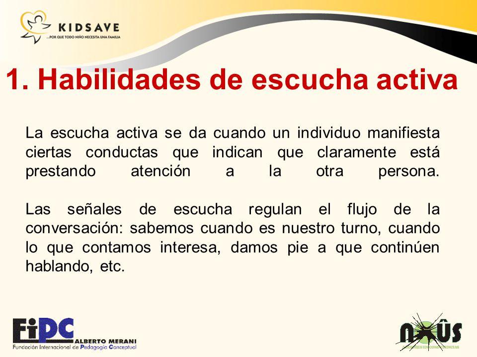 1. Habilidades de escucha activa La escucha activa se da cuando un individuo manifiesta ciertas conductas que indican que claramente está prestando at