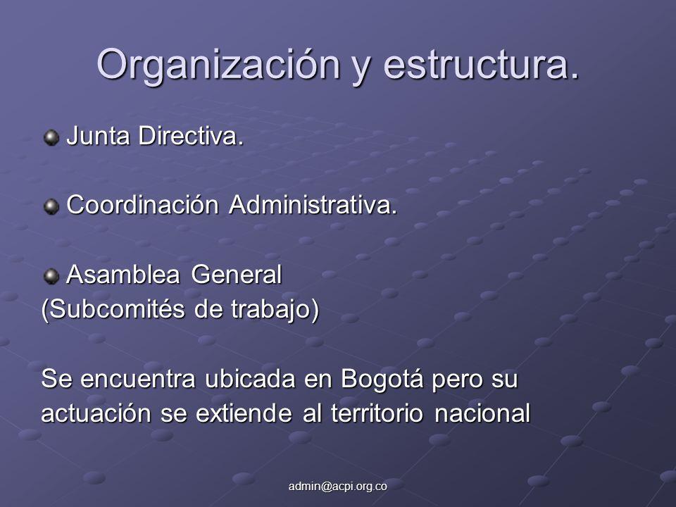 admin@acpi.org.co Organización y estructura. Junta Directiva. Coordinación Administrativa. Asamblea General (Subcomités de trabajo) Se encuentra ubica