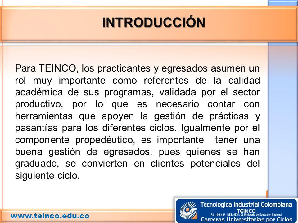 INTRODUCCIÓN Para TEINCO, los practicantes y egresados asumen un rol muy importante como referentes de la calidad académica de sus programas, validada