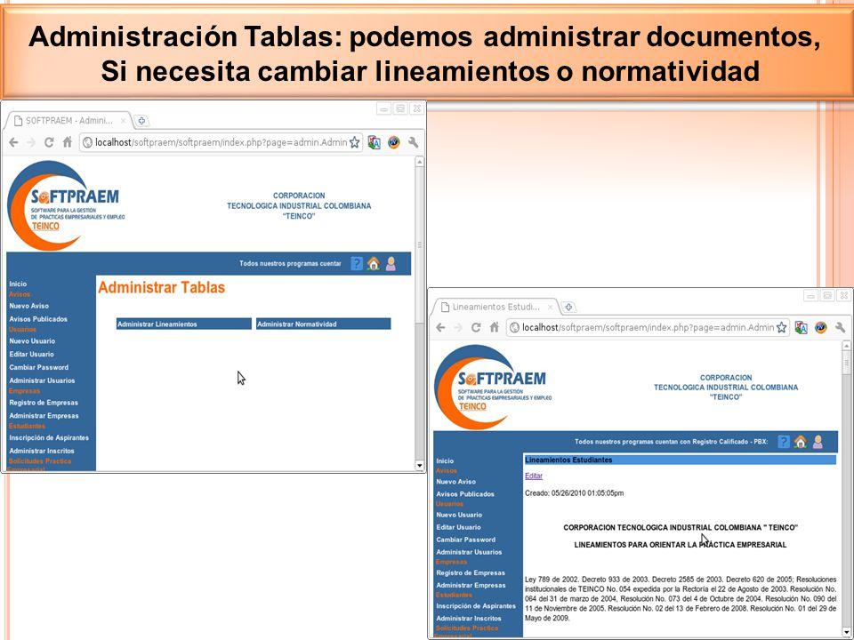 Administración Tablas: podemos administrar documentos, Si necesita cambiar lineamientos o normatividad