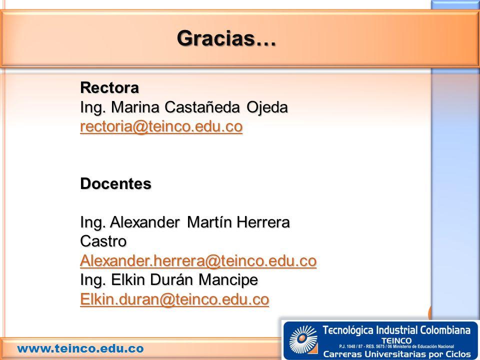 Gracias… Rectora Ing. Marina Castañeda Ojeda rectoria@teinco.edu.co Docentes Ing. Alexander Martín Herrera Castro Alexander.herrera@teinco.edu.co Ing.