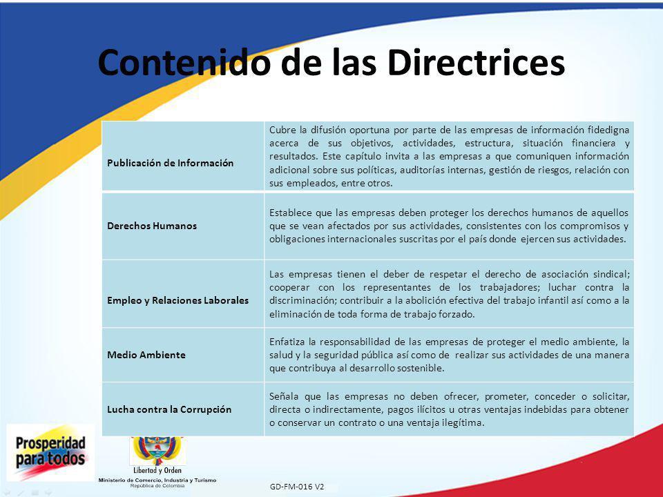 GD-FM-016 V2 Contenido de las Directrices Publicación de Información Cubre la difusión oportuna por parte de las empresas de información fidedigna acerca de sus objetivos, actividades, estructura, situación financiera y resultados.