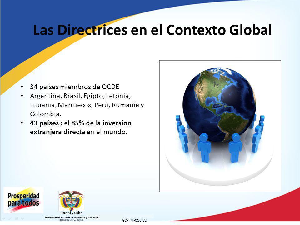 GD-FM-016 V2 Las Directrices en el Contexto Global 34 países miembros de OCDE Argentina, Brasil, Egipto, Letonia, Lituania, Marruecos, Perú, Rumanía y Colombia.