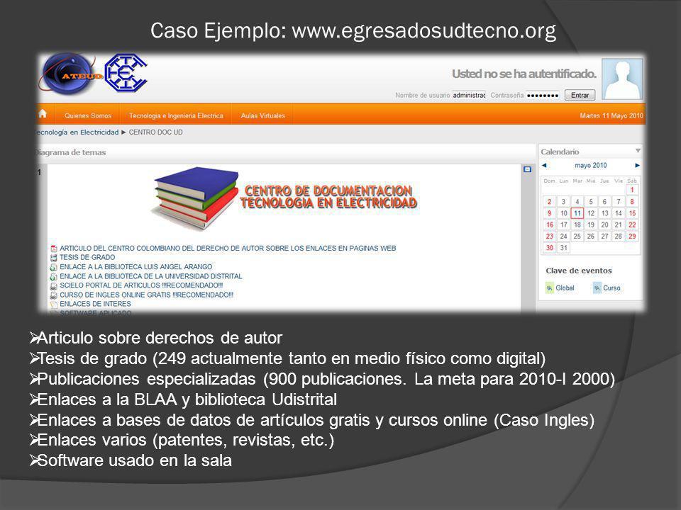 Caso Ejemplo: www.egresadosudtecno.org Articulo sobre derechos de autor Tesis de grado (249 actualmente tanto en medio físico como digital) Publicaciones especializadas (900 publicaciones.