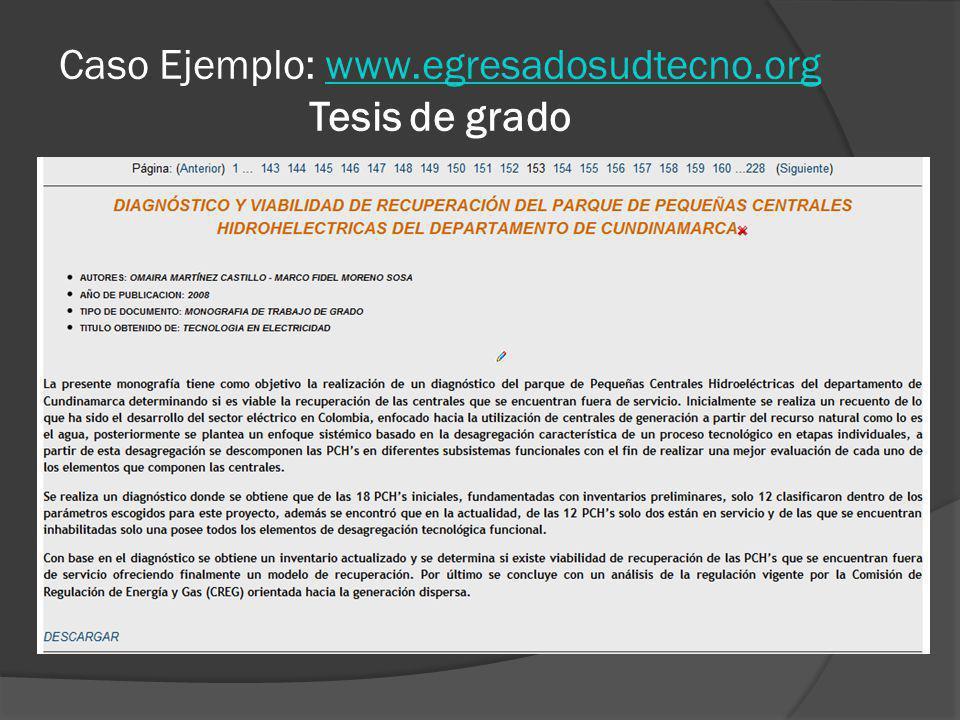 Caso Ejemplo: www.egresadosudtecno.org Tesis de gradowww.egresadosudtecno.org
