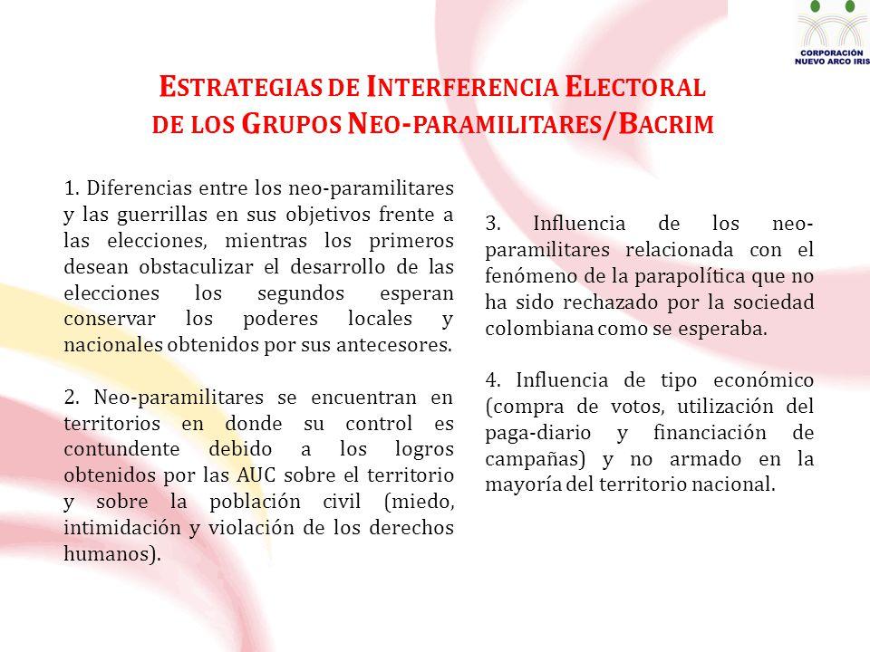 E STRATEGIAS DE I NTERFERENCIA E LECTORAL DE LOS G RUPOS N EO - PARAMILITARES /B ACRIM 1.