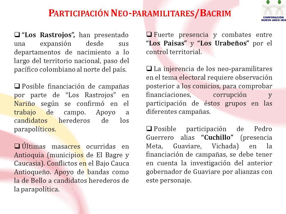Los Rastrojos, han presentado una expansión desde sus departamentos de nacimiento a lo largo del territorio nacional, paso del pacífico colombiano al norte del país.