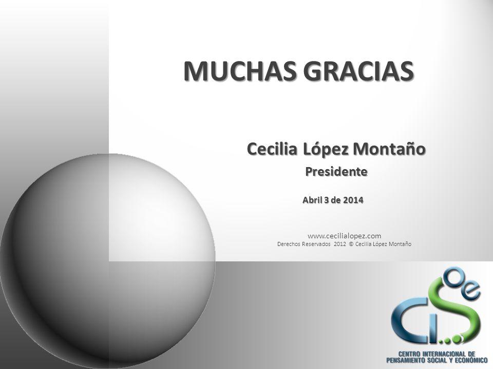 www.cecilialopez.com Derechos Reservados 2012 © Cecilia López Montaño MUCHAS GRACIAS Cecilia López Montaño Presidente Abril 3 de 2014