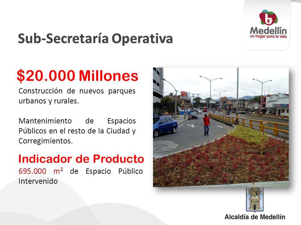 Construcción de nuevos parques urbanos y rurales. Mantenimiento de Espacios Públicos en el resto de la Ciudad y Corregimientos. $20.000 Millones 695.0