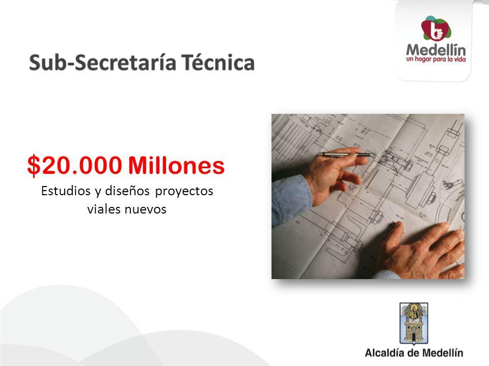 Estudios y diseños proyectos viales nuevos $20.000 Millones