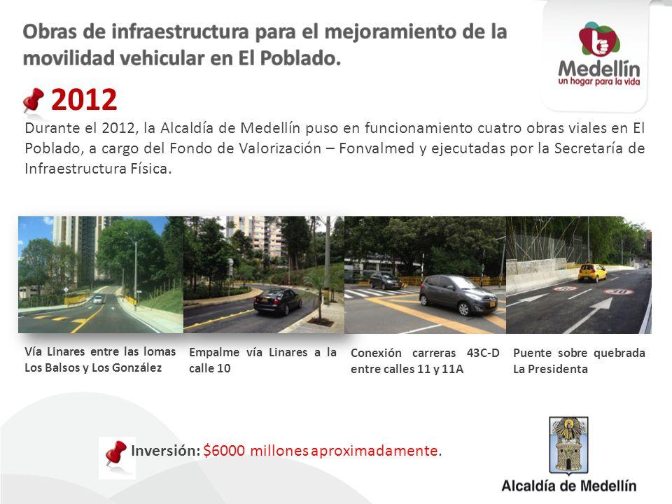 Durante el 2012, la Alcaldía de Medellín puso en funcionamiento cuatro obras viales en El Poblado, a cargo del Fondo de Valorización – Fonvalmed y eje
