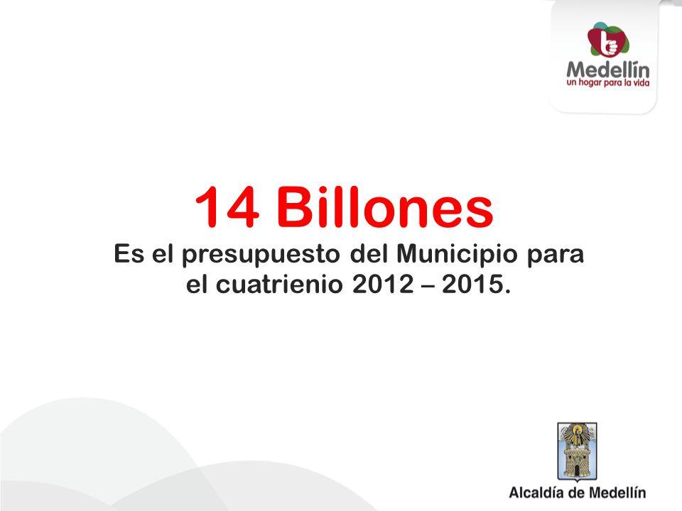 14 Billones Es el presupuesto del Municipio para el cuatrienio 2012 – 2015.