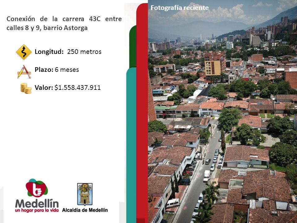 Fotografía reciente Conexión de la carrera 43C entre calles 8 y 9, barrio Astorga Longitud: 250 metros Plazo: 6 meses Valor: $1.558.437.911