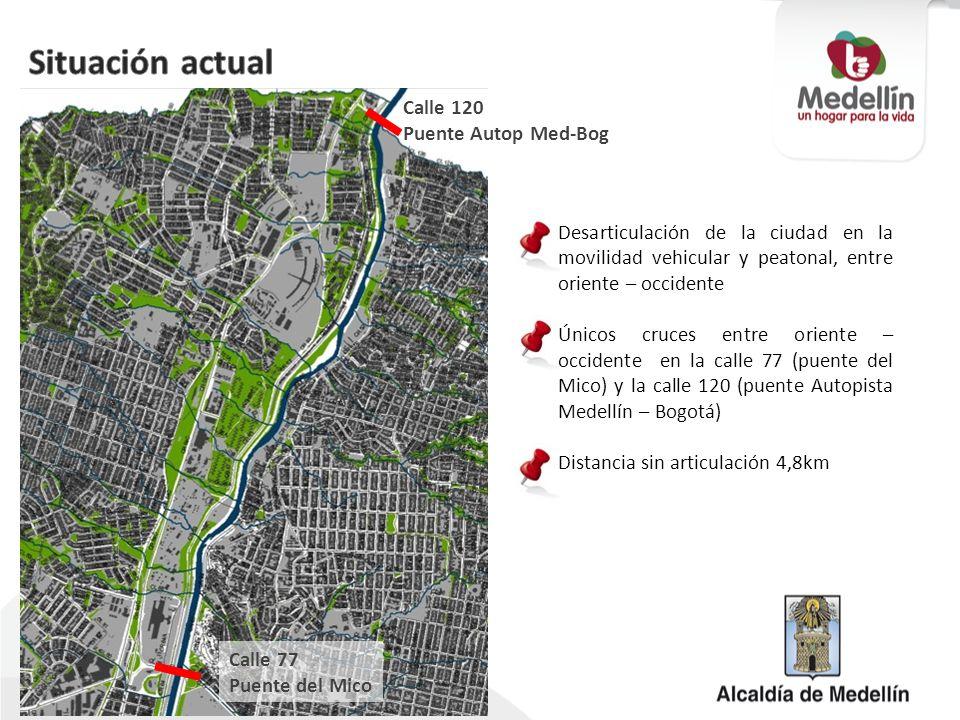 Desarticulación de la ciudad en la movilidad vehicular y peatonal, entre oriente – occidente Únicos cruces entre oriente – occidente en la calle 77 (p