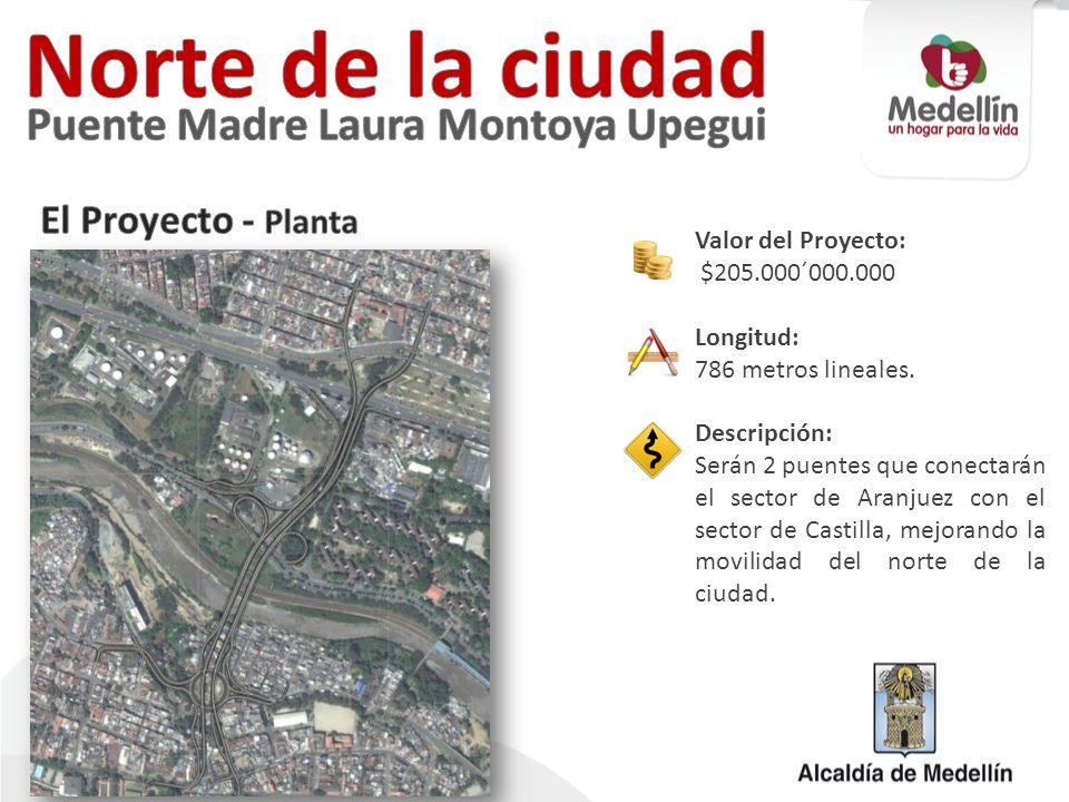Valor del Proyecto: $205.000´000.000 Longitud: 786 metros lineales. Descripción: Serán 2 puentes que conectarán el sector de Aranjuez con el sector de