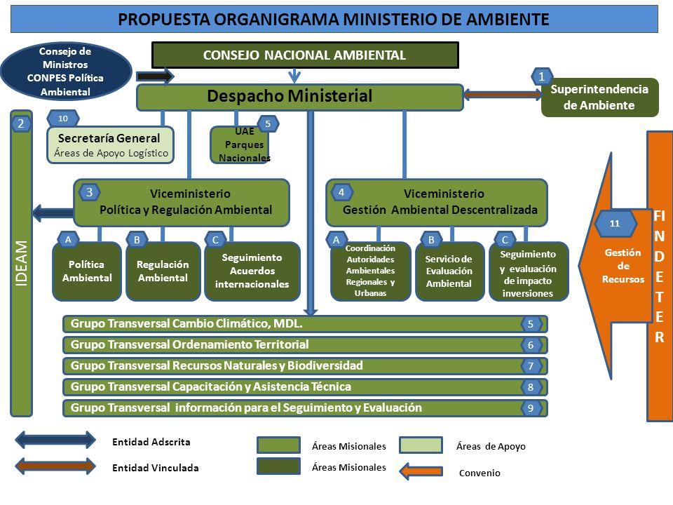 PROPUESTA ORGANIGRAMA MINISTERIO DE AMBIENTE Consejo de Ministros CONPES Política Ambiental Política Ambiental Regulación Ambiental Seguimiento Acuerd
