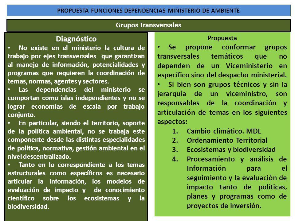 PROPUESTA FUNCIONES DEPENDENCIAS MINISTERIO DE AMBIENTE Diagnóstico No existe en el ministerio la cultura de trabajo por ejes transversales que garant