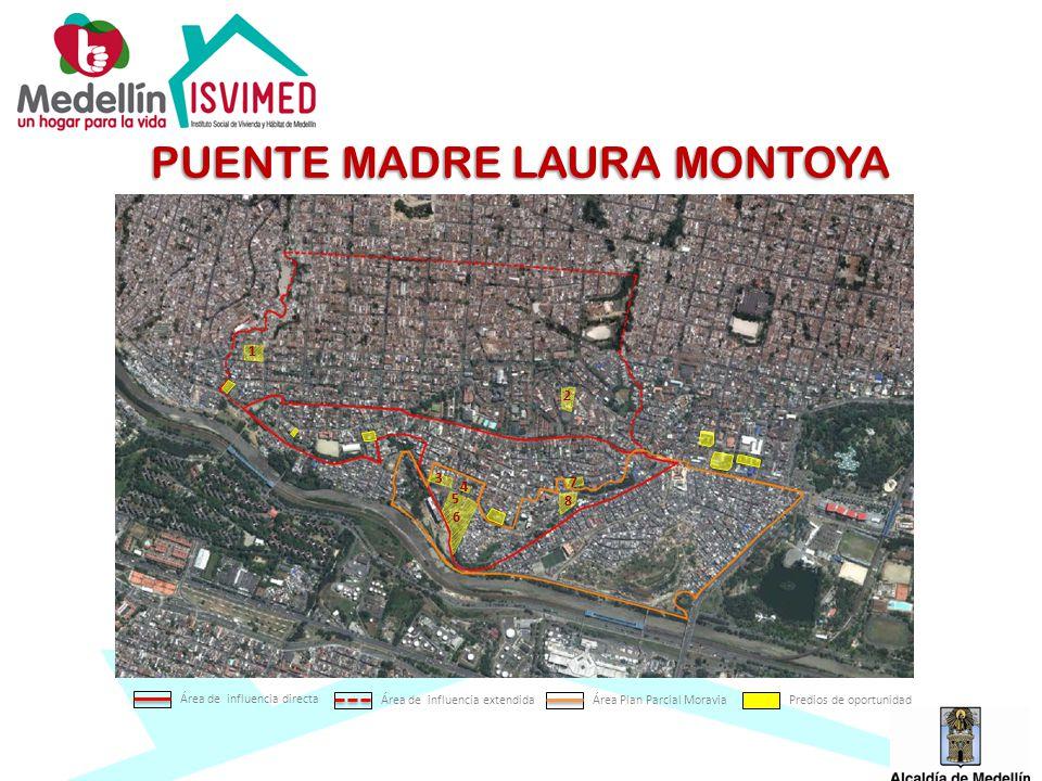 1 2 3 4 5 6 7 8 PUENTE MADRE LAURA MONTOYA Área de influencia directa Área de influencia extendidaÁrea Plan Parcial MoraviaPredios de oportunidad