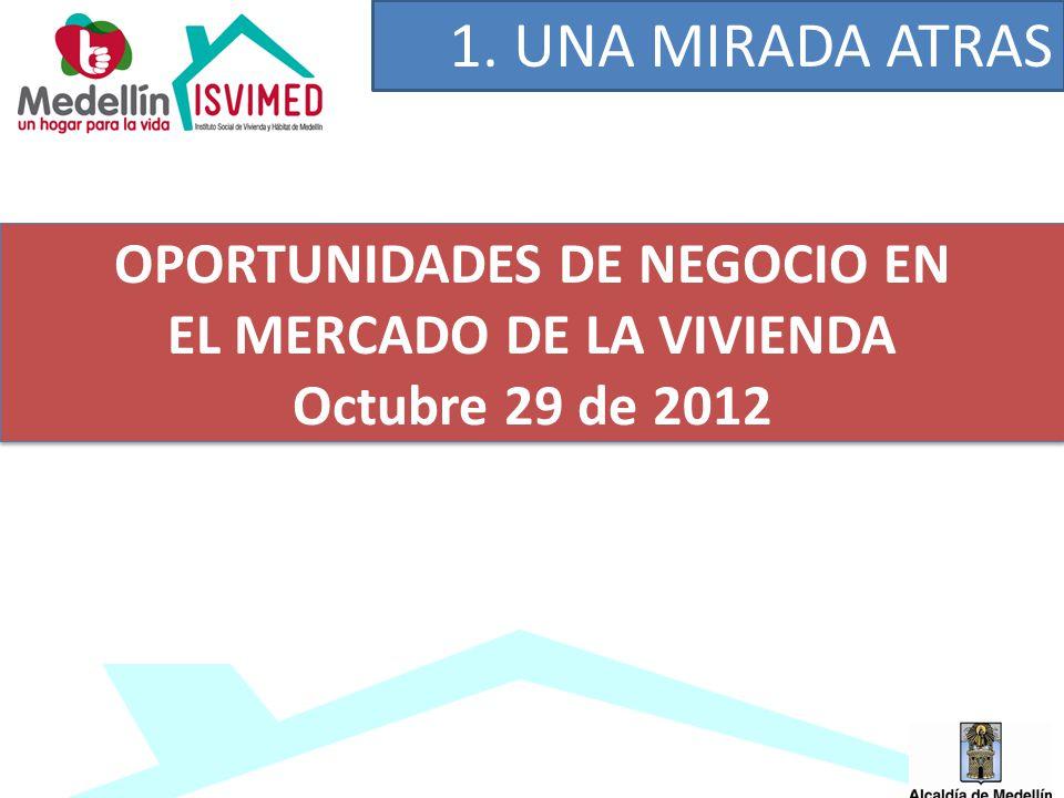 OPORTUNIDADES DE NEGOCIO EN EL MERCADO DE LA VIVIENDA Octubre 29 de 2012 1. UNA MIRADA ATRAS