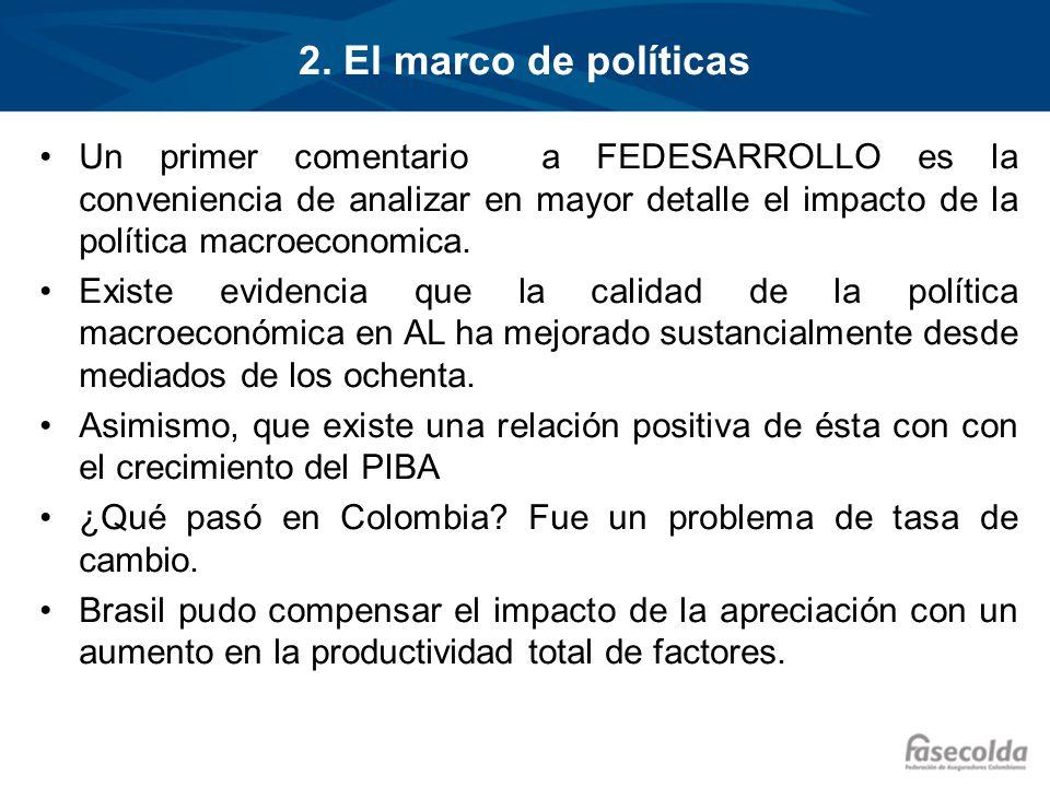 2. El marco de políticas Un primer comentario a FEDESARROLLO es la conveniencia de analizar en mayor detalle el impacto de la política macroeconomica.