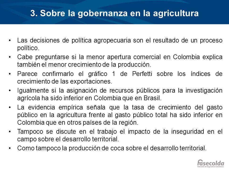 3. Sobre la gobernanza en la agricultura Las decisiones de política agropecuaria son el resultado de un proceso político. Cabe preguntarse si la menor