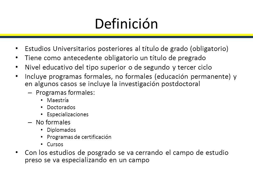 Definición Estudios Universitarios posteriores al título de grado (obligatorio) Tiene como antecedente obligatorio un título de pregrado Nivel educati