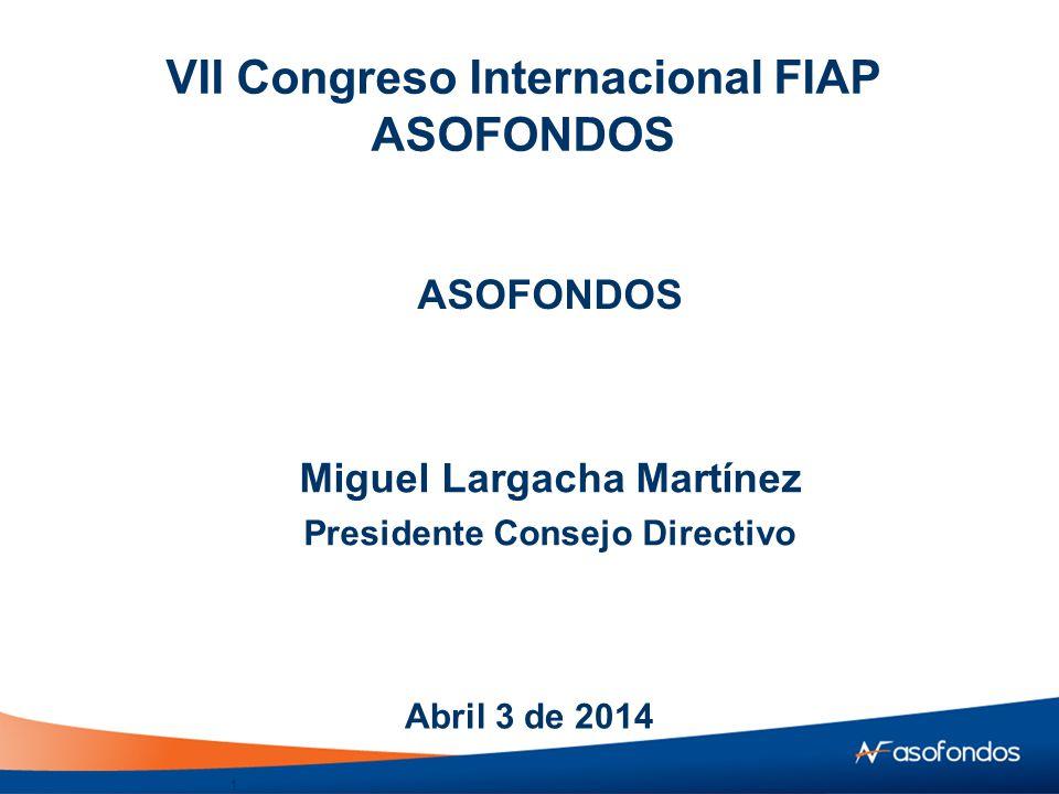 VII Congreso Internacional FIAP ASOFONDOS Miguel Largacha Martínez Presidente Consejo Directivo Abril 3 de 2014 ASOFONDOS 1
