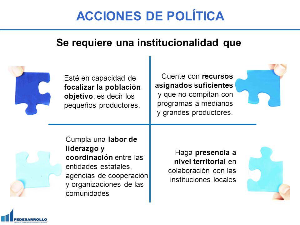 ACCIONES DE POLÍTICA Se requiere una institucionalidad que Esté en capacidad de focalizar la población objetivo, es decir los pequeños productores. Cu