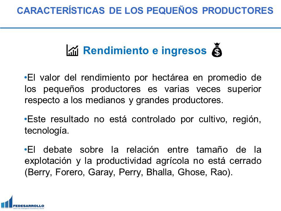 Este resultado expresa que la limitación de tierra que tienen los pequeños productores conlleva al uso intensivo de la misma.