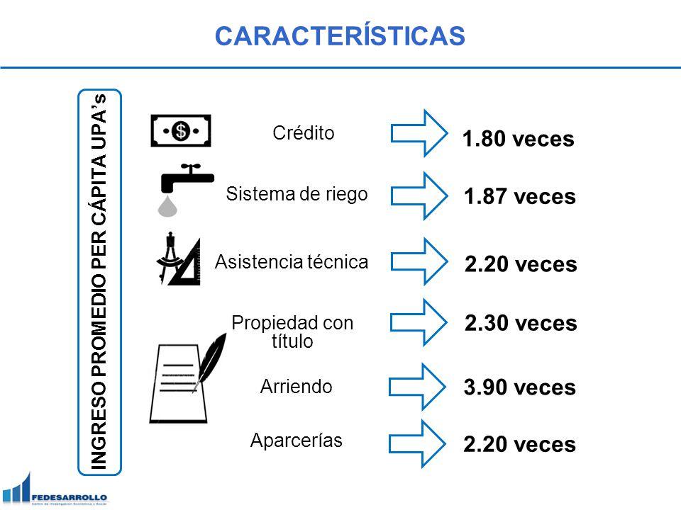 CARACTERÍSTICAS INGRESO PROMEDIO PER CÁPITA UPAs 1.80 veces Crédito 1.87 veces Sistema de riego Asistencia técnica 2.20 veces Propiedad con título 2.3