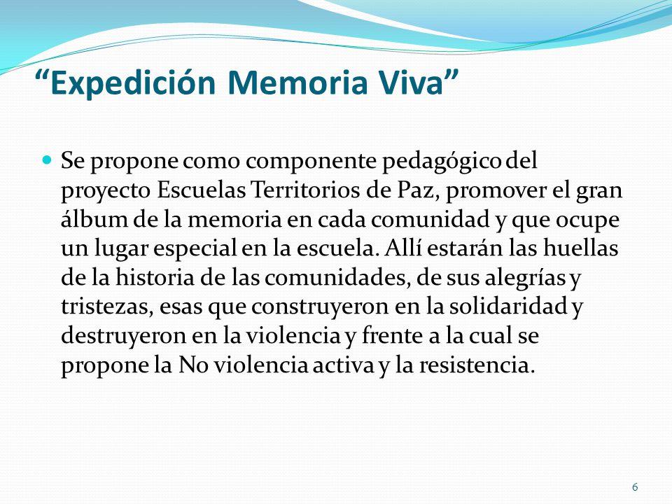 Expedición Memoria Viva Se propone como componente pedagógico del proyecto Escuelas Territorios de Paz, promover el gran álbum de la memoria en cada c