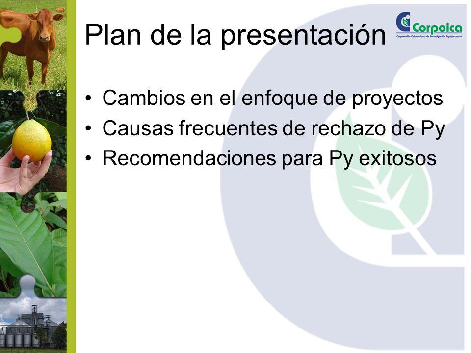 Plan de la presentación Cambios en el enfoque de proyectos Causas frecuentes de rechazo de Py Recomendaciones para Py exitosos