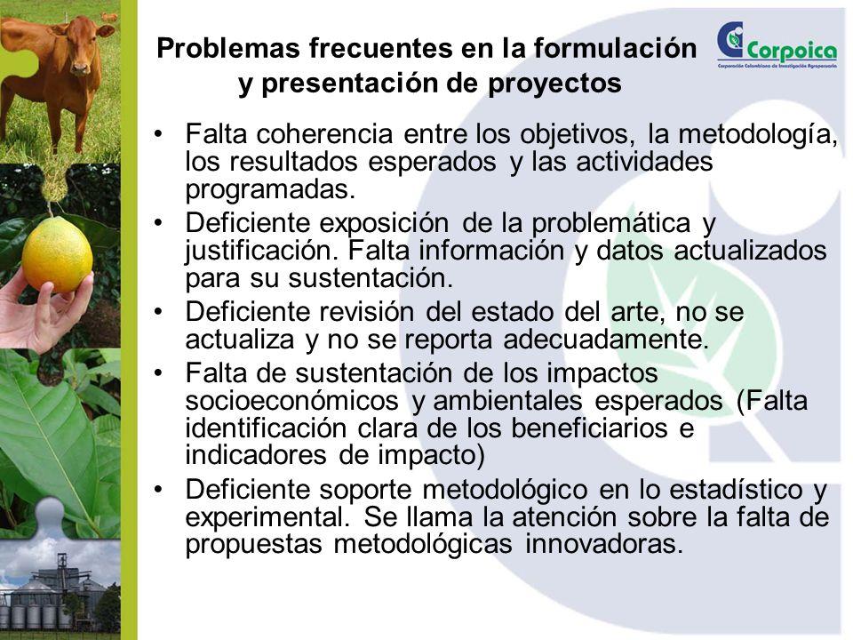 Problemas frecuentes en la formulación y presentación de proyectos Falta coherencia entre los objetivos, la metodología, los resultados esperados y la