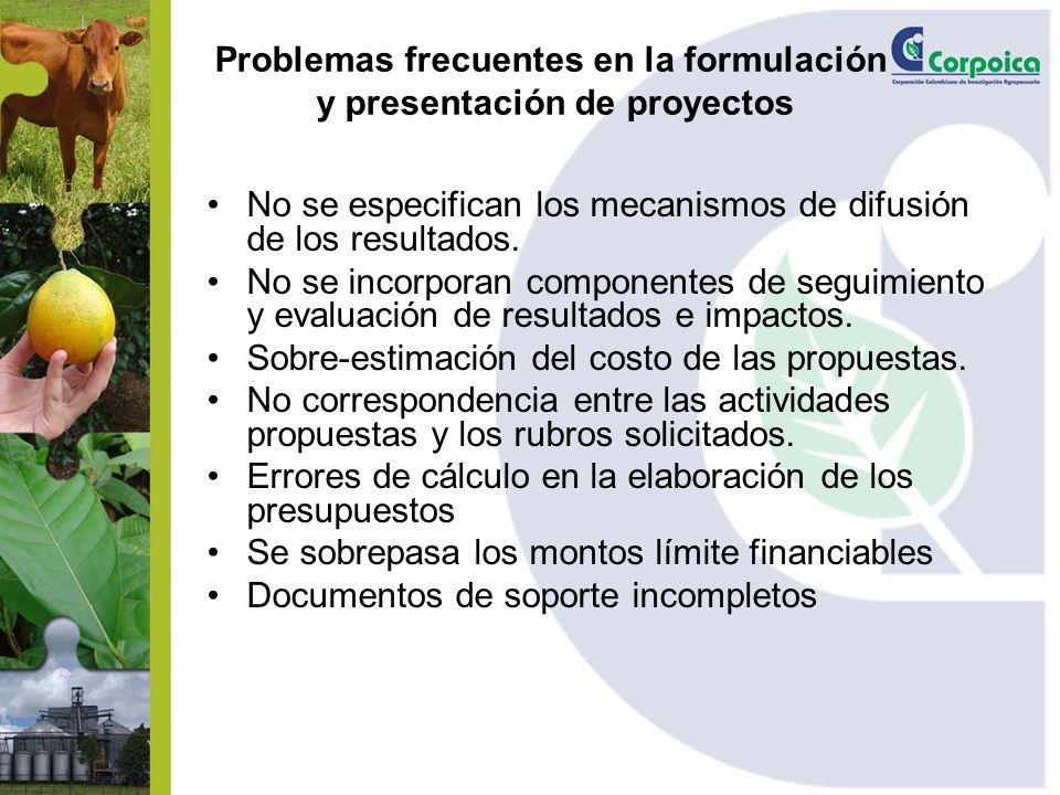 Problemas frecuentes en la formulación y presentación de proyectos No se especifican los mecanismos de difusión de los resultados. No se incorporan co