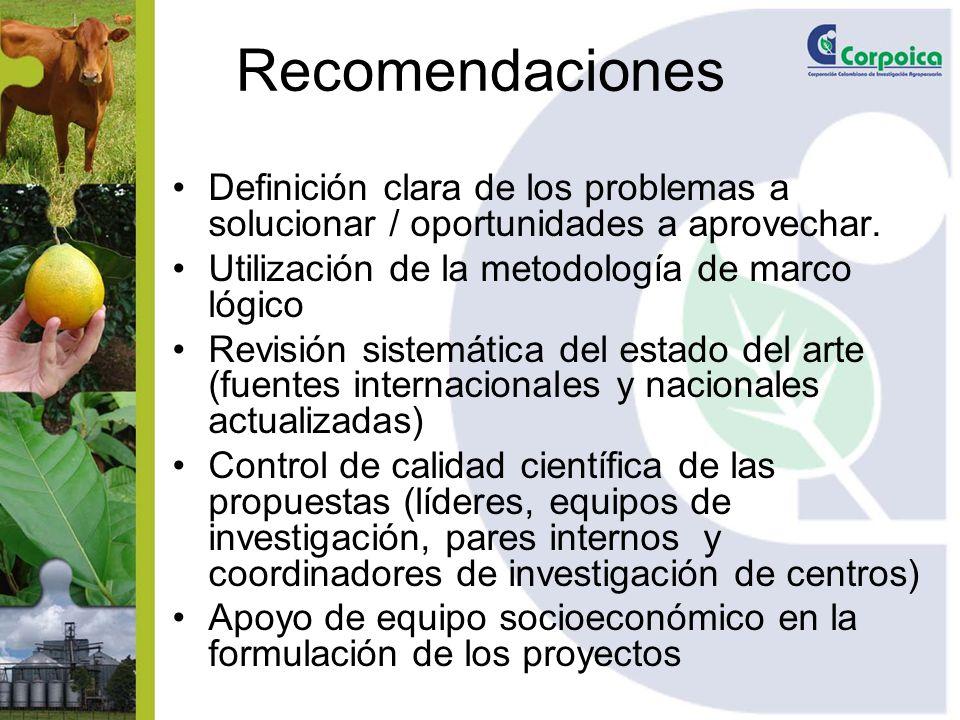 Recomendaciones Definición clara de los problemas a solucionar / oportunidades a aprovechar. Utilización de la metodología de marco lógico Revisión si