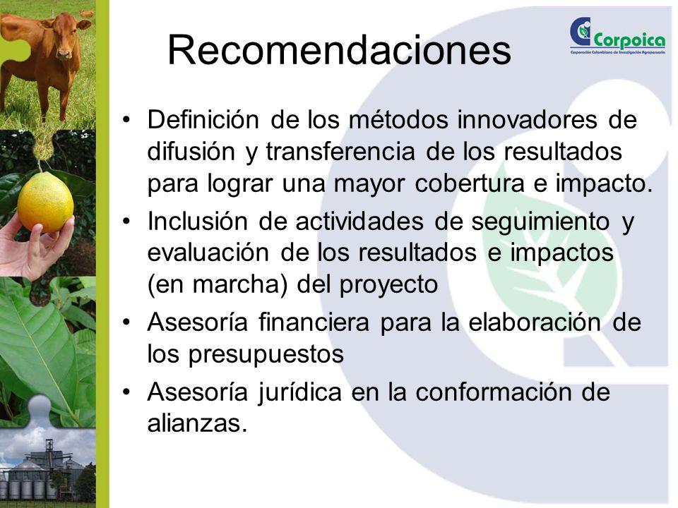 Recomendaciones Definición de los métodos innovadores de difusión y transferencia de los resultados para lograr una mayor cobertura e impacto. Inclusi