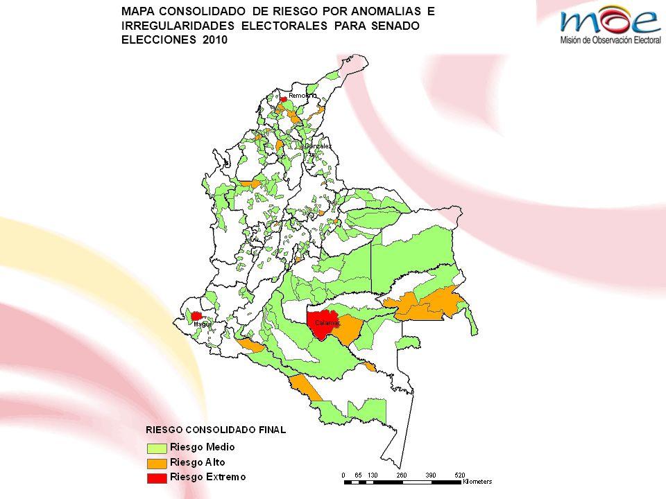 MAPA CONSOLIDADO DE RIESGO POR ANOMALIAS E IRREGULARIDADES ELECTORALES PARA SENADO ELECCIONES 2010 MAPA CONSOLIDADO DE RIESGO POR ANOMALIAS E IRREGULARIDADES ELECTORALES PARA SENADO ELECCIONES 2010