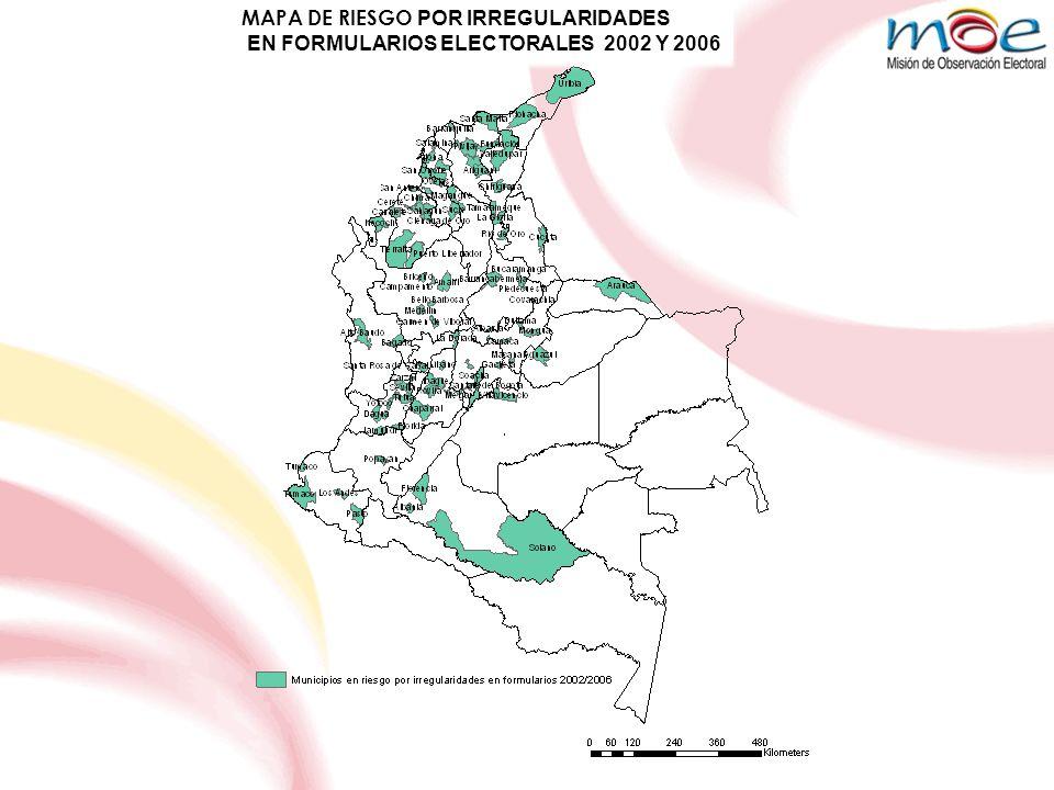CONSOLIDADO ANOMALIAS ELECTORALES PARA LAS ELECCIONES 2010 NIVEL DE RIESGOSENADOCAMARA EXTREMO01 ALTO114 MEDIO2632 CONSOLIDADO2747 ANTIOQUIA2002%2006% IRREGULARIDADES SANCIONADAS 56452117