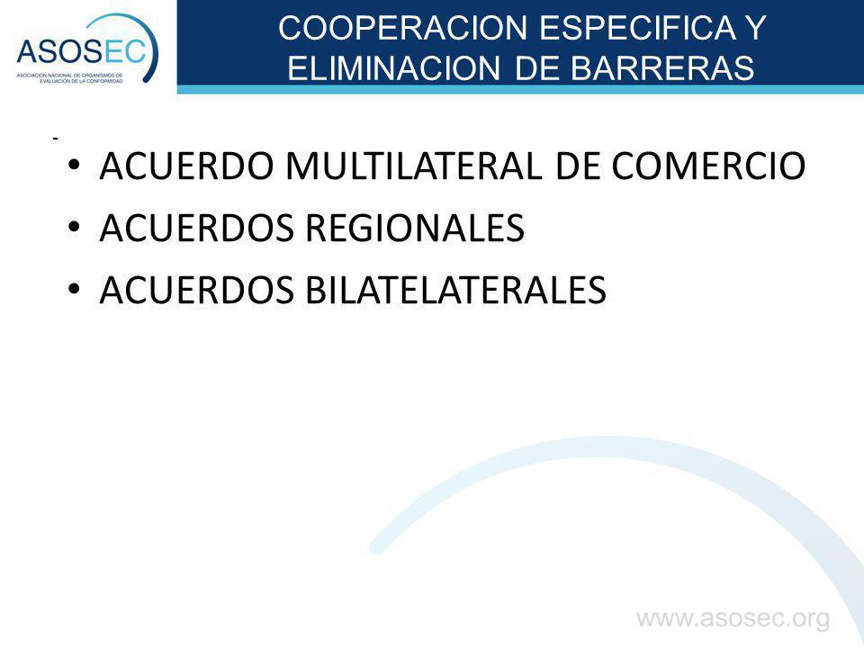 COOPERACION ESPECIFICA Y ELIMINACION DE BARRERAS - ACUERDO MULTILATERAL DE COMERCIO ACUERDOS REGIONALES ACUERDOS BILATELATERALES
