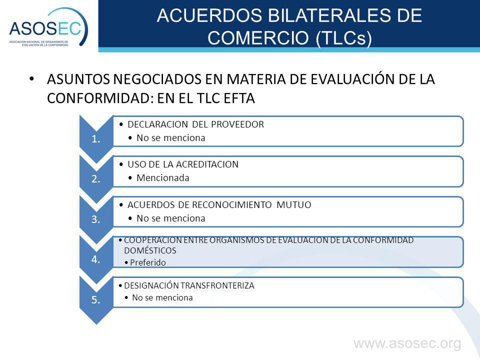 ACUERDOS BILATERALES DE COMERCIO (TLCs) ASUNTOS NEGOCIADOS EN MATERIA DE EVALUACIÓN DE LA CONFORMIDAD: EN EL TLC EFTA 1. DECLARACION DEL PROVEEDOR No