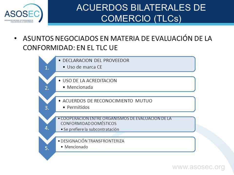 ACUERDOS BILATERALES DE COMERCIO (TLCs) ASUNTOS NEGOCIADOS EN MATERIA DE EVALUACIÓN DE LA CONFORMIDAD: EN EL TLC UE 1. DECLARACION DEL PROVEEDOR Uso d
