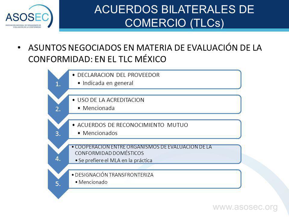 ACUERDOS BILATERALES DE COMERCIO (TLCs) ASUNTOS NEGOCIADOS EN MATERIA DE EVALUACIÓN DE LA CONFORMIDAD: EN EL TLC MÉXICO 1. DECLARACION DEL PROVEEDOR I