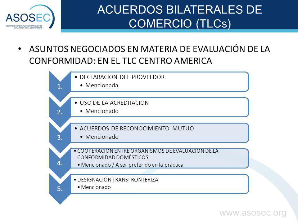 ACUERDOS BILATERALES DE COMERCIO (TLCs) ASUNTOS NEGOCIADOS EN MATERIA DE EVALUACIÓN DE LA CONFORMIDAD: EN EL TLC CENTRO AMERICA 1. DECLARACION DEL PRO