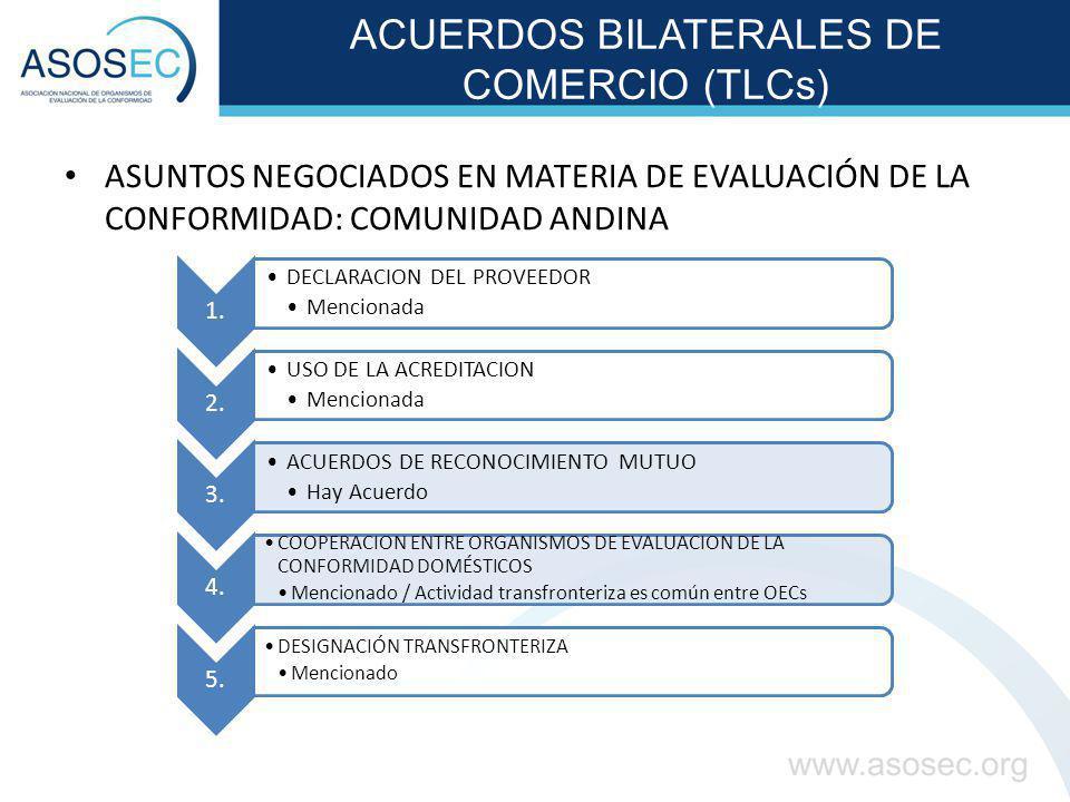 ACUERDOS BILATERALES DE COMERCIO (TLCs) ASUNTOS NEGOCIADOS EN MATERIA DE EVALUACIÓN DE LA CONFORMIDAD: COMUNIDAD ANDINA 1. DECLARACION DEL PROVEEDOR M