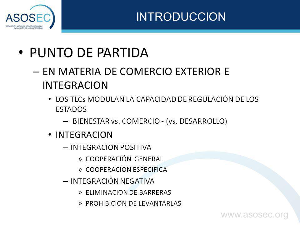 INTRODUCCION PUNTO DE PARTIDA – EN MATERIA DE COMERCIO EXTERIOR E INTEGRACION LOS TLCs MODULAN LA CAPACIDAD DE REGULACIÓN DE LOS ESTADOS – BIENESTAR vs.