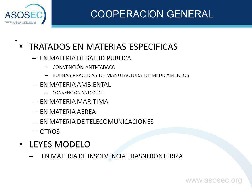 COOPERACIÓN ESPECÍFICA ENTENDIMIENTOS EN MATERIAS ESPECIFICAS – ARMONIZACIONES – NORMAS LEGALES – NORMAS TECNICAS – MEMORANDOS DE ENTENDIMIENTO – EN MATERIA DE PROTECCION DE LA COMPETENCIA – CONTROL DE ALIMENTOS Y MEDICAMENTOS – ACUERDOS DE RECONOCIMIENTO MUTUO – DESIGNACION TRANSFRONTERIZA