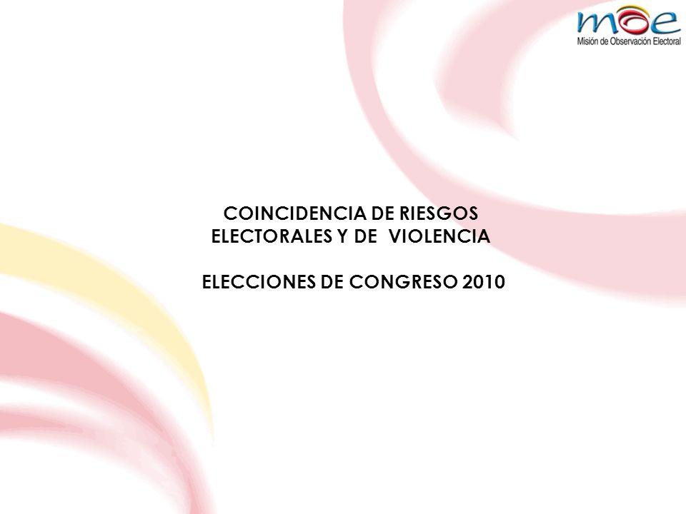 COINCIDENCIA DE RIESGOS ELECTORALES Y DE VIOLENCIA ELECCIONES DE CONGRESO 2010