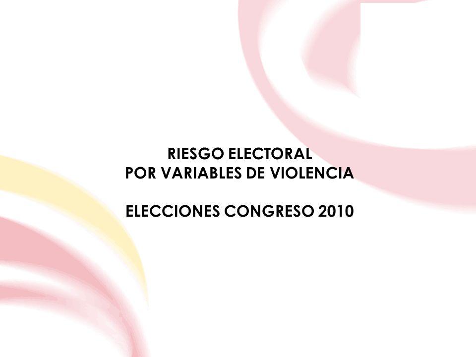 RIESGO ELECTORAL POR VARIABLES DE VIOLENCIA ELECCIONES CONGRESO 2010