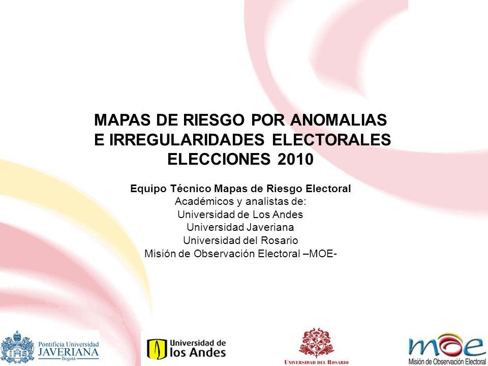 CONSOLIDADO ANOMALIAS ELECTORALES PARA LAS ELECCIONES 2010 NIVEL DE RIESGO SENADOCAMARA EXTREMO01 ALTO04 MEDIO77 CONSOLIDADO712 CAUCA2002%2006% IRREGULARIDADES SANCIONADAS 1715519 SENADO ALMAGUER GUAPI MERCADERES PAEZ PIAMONTE TIMBIQUÍ TOTORÓ